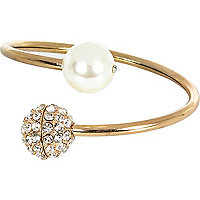 Gold tone pearl and diamante encrusted cuff