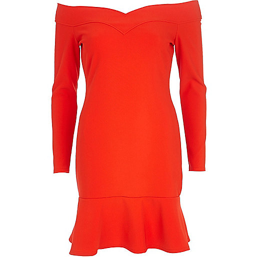 Red bardot drop hem dress