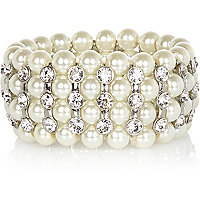 Faux pearl diamante stretch bracelet
