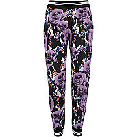 Purple floral animal print joggers