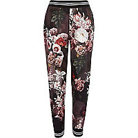 Black floral print joggers