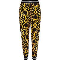 Yellow tapestry print joggers