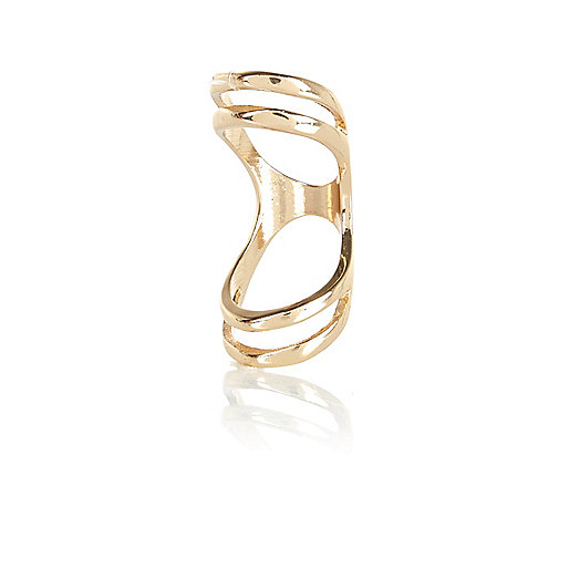 Gold tone elongated knuckle ring