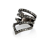 Dark grey encrusted chevron ring