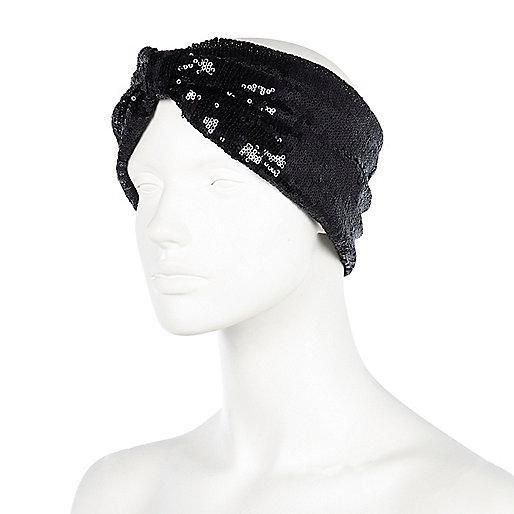 Black sequin turban-style headband