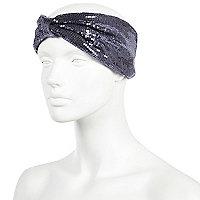 Grey sequin turban-style headband