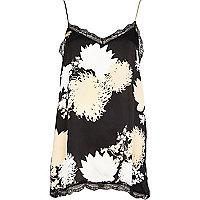 Black floral print lace trim cami top