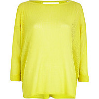 Lime loose knit top
