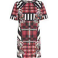 Red check rose print t-shirt dress