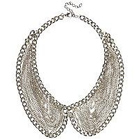Silver tone draped chain collar necklace