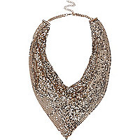 Gold tone scarf effect necklace