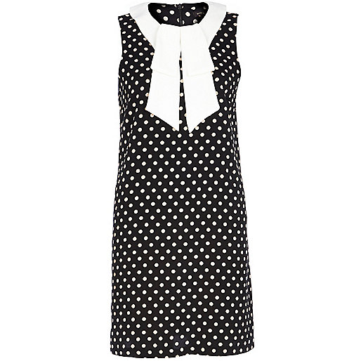 Navy polka dot pussybow shift dress