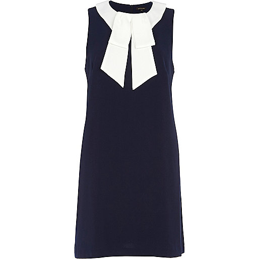 Navy pussybow shift dress