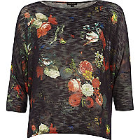 Black floral print boxy top