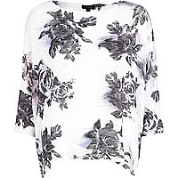 White floral print boxy top
