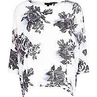 White floral print boxy top