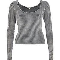 Dark grey rib scoop neck long sleeve t-shirt