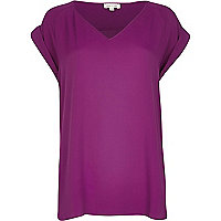 Purple V neck woven t-shirt