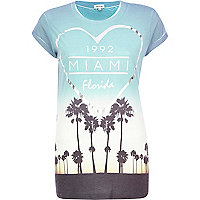 Blue 1992 Miami Florida print fitted t-shirt