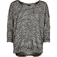 Black textured stripe slouchy t-shirt