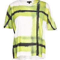 Lime blurred check print boxy t-shirt