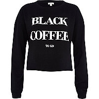 Black coffee to go print crop sweatshirt