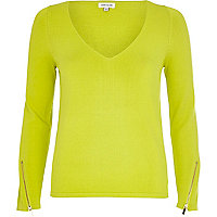 Lime zip trim V neck top