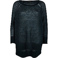 Dark green mohair stepped hem jumper