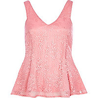 Pink lace peplum top