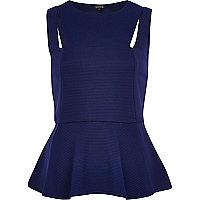 Navy cut out rib peplum top