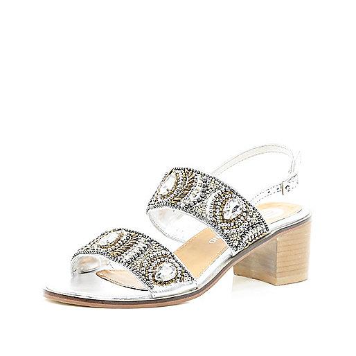Silver embellished two-strap sandals