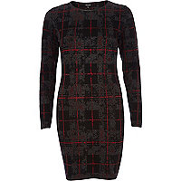 Dark grey check bodycon dress