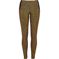 Yellow geometric print leggings