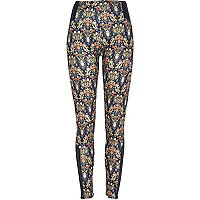 Black floral print zip hem leggings