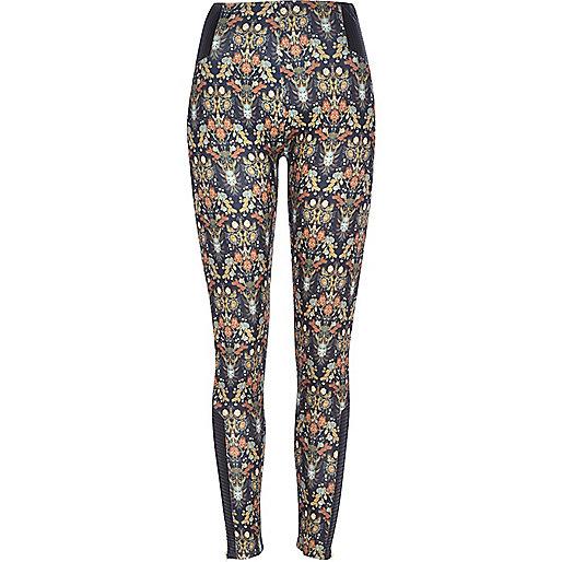Black floral print zip hem leggings