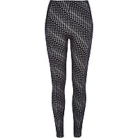 Dark blue geometric print leggings
