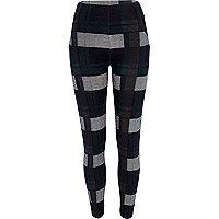 Dark green check leggings