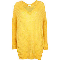 Yellow V neck jumper dress
