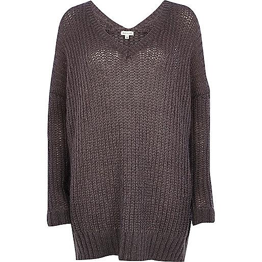 Dark grey V neck jumper dress