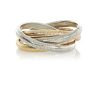 Mixed metal twisted slinky bracelet