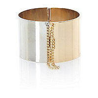 Gold and silver tone two-tone bangle