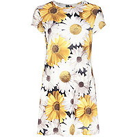 White Chelsea Girl sunflower swing dress
