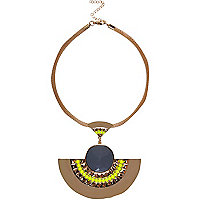 Gold tone tribal statement necklace