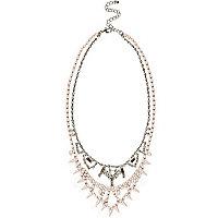 Light pink embellished short necklace