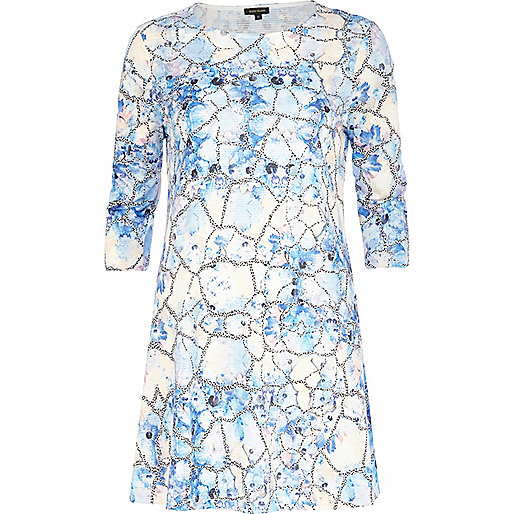 Blue abstract floral print swing dress