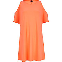 Bright coral cold shoulder swing dress