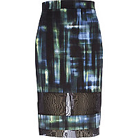 Dark green check mesh panel pencil skirt