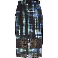 Dark green check mesh panel pencil skirt