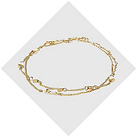 Gold tone love heart anklet pack