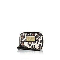 Brown leopard print mini zip around purse